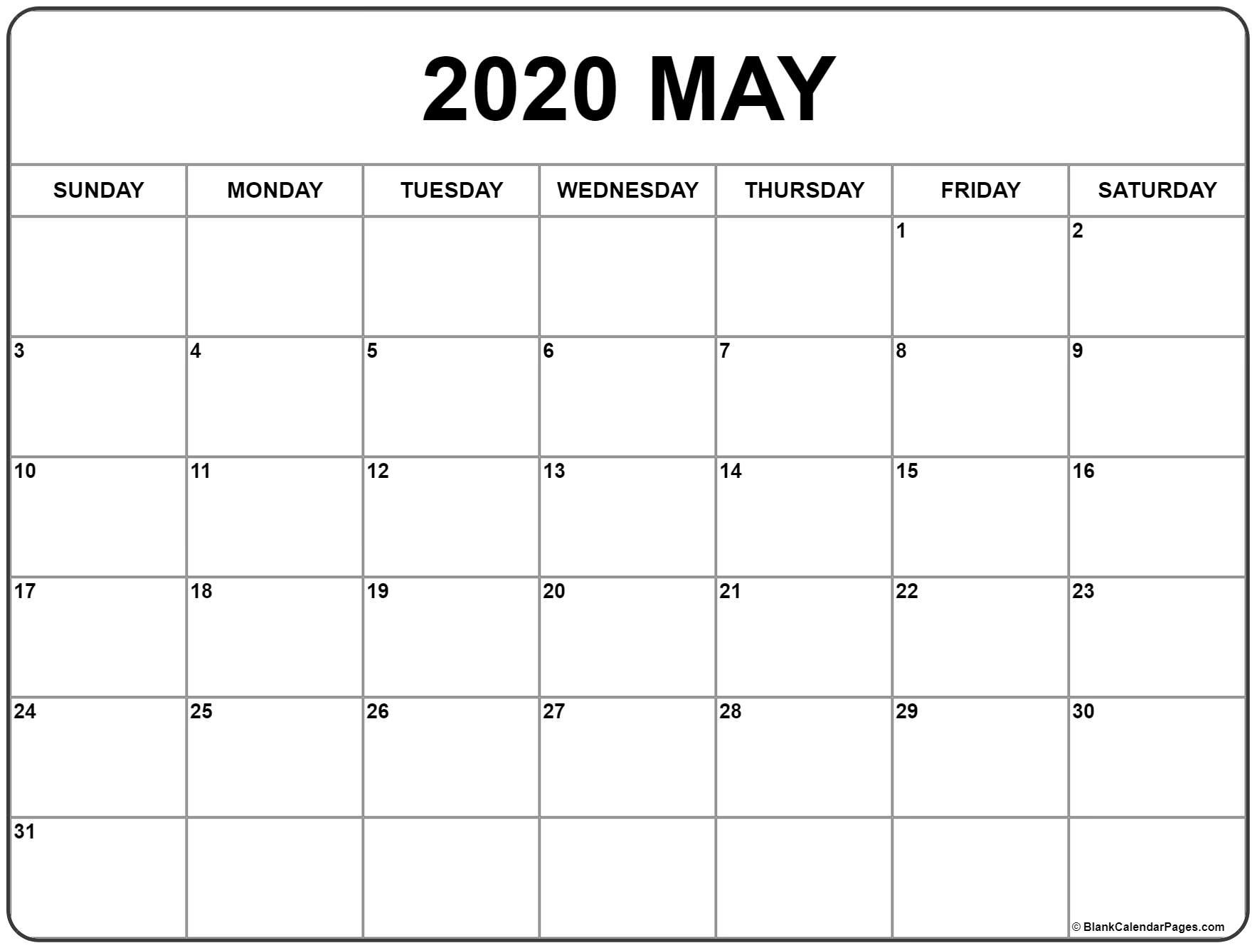 May 2020 Calendar | Free Printable Monthly Calendars-Printable Monthly Calendar Monday Start