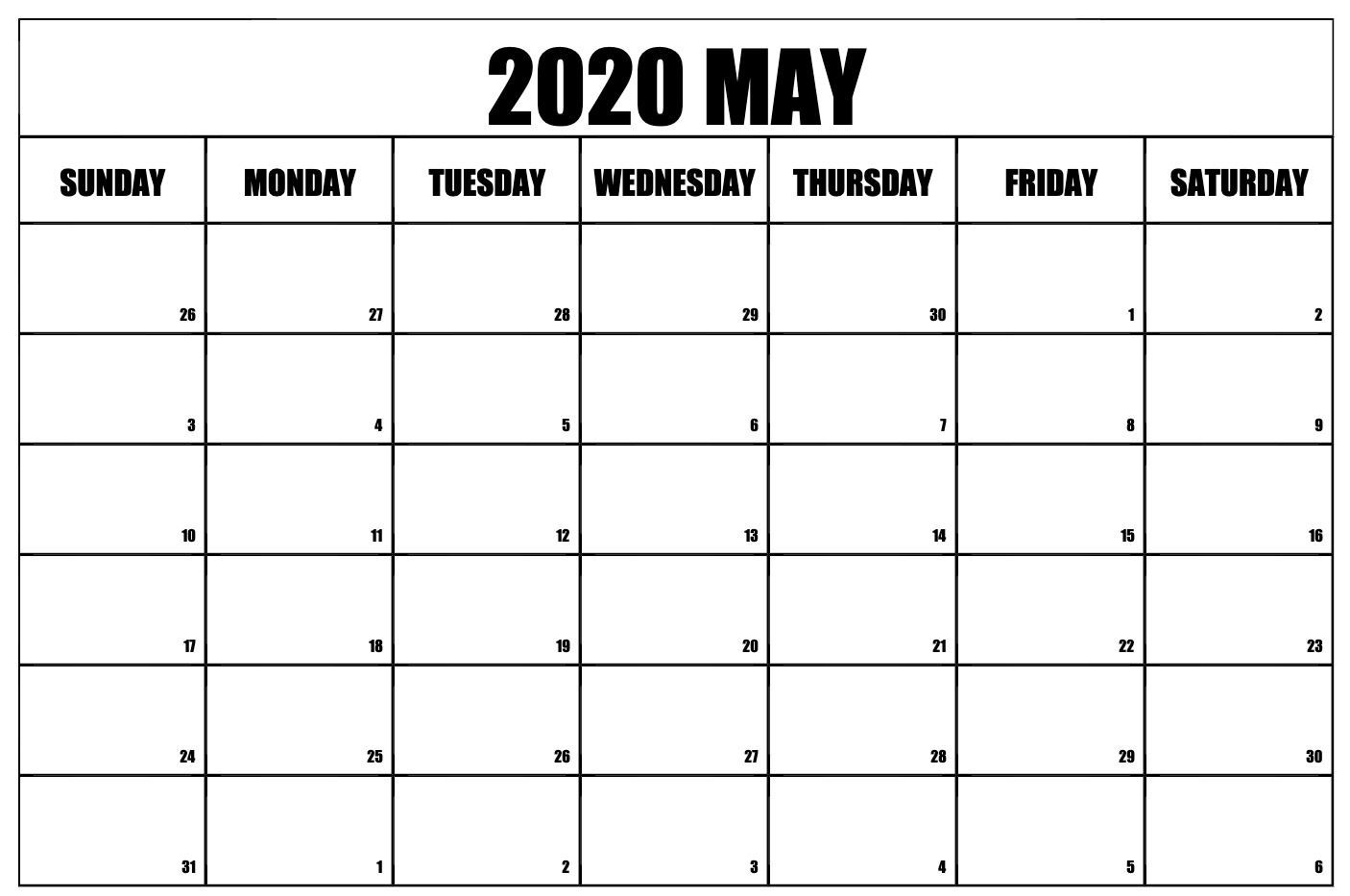 May 2020 Calendar Pdf, Word, Excel Printable Template-Fre Printable Blank Calander Monthly Pages
