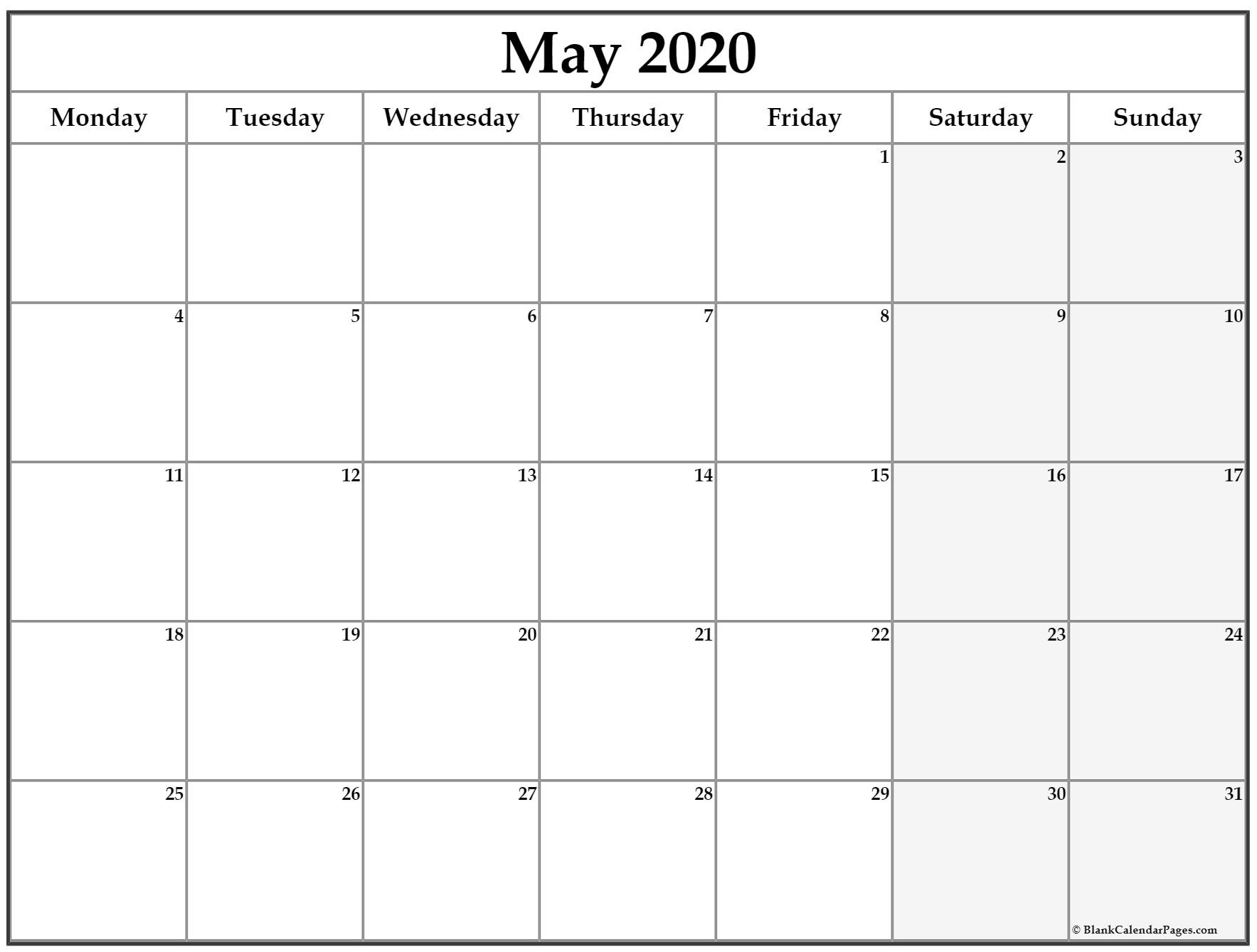May 2020 Monday Calendar | Monday To Sunday-Monday Friday Blank Calendar