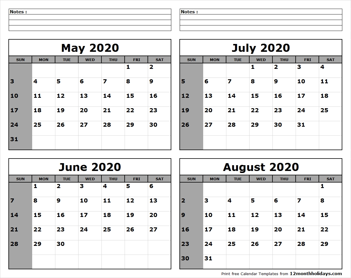 May-June-July-August-2020-Calendar-To-Print - All 12 Month-Blank Calendars June July And August 2020
