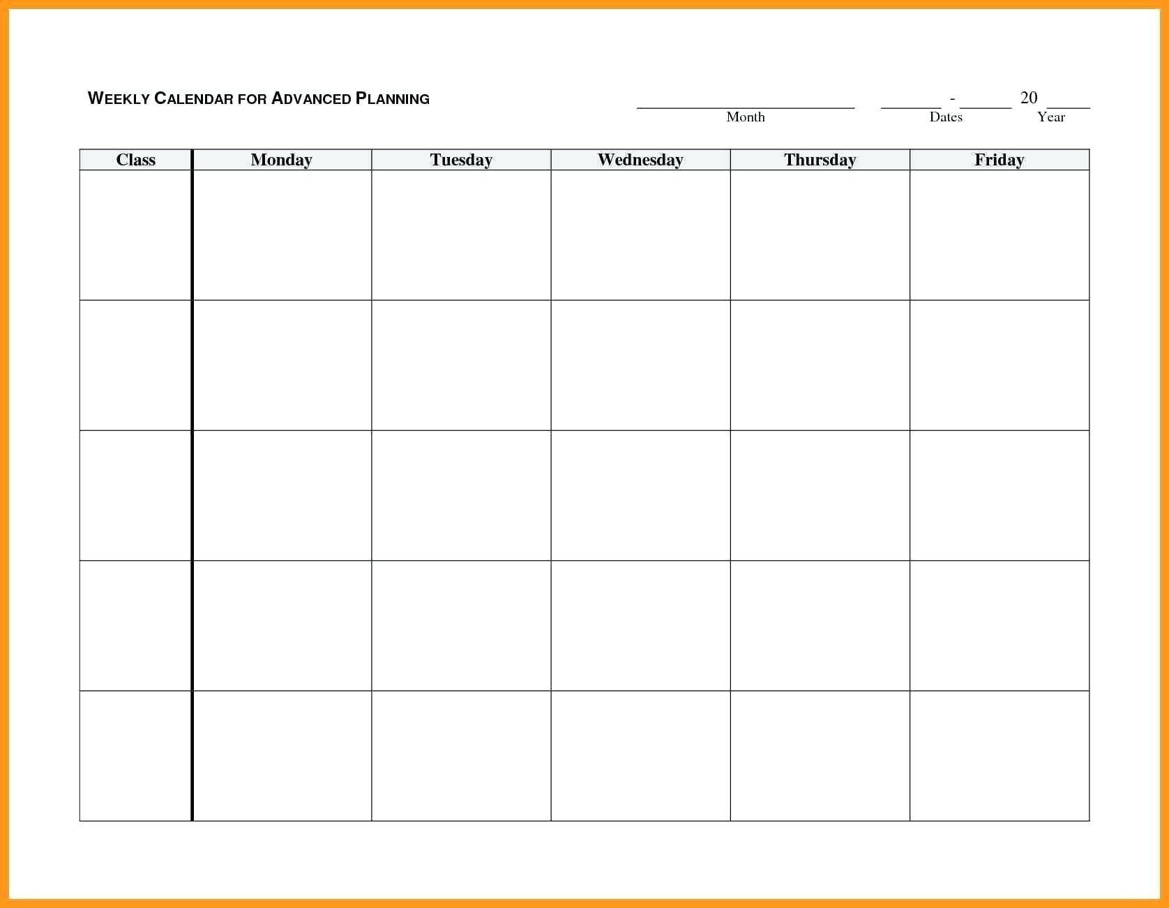Monday To Friday Blank Calendar Printable | Example Calendar-Monday Friday Blank Calendar