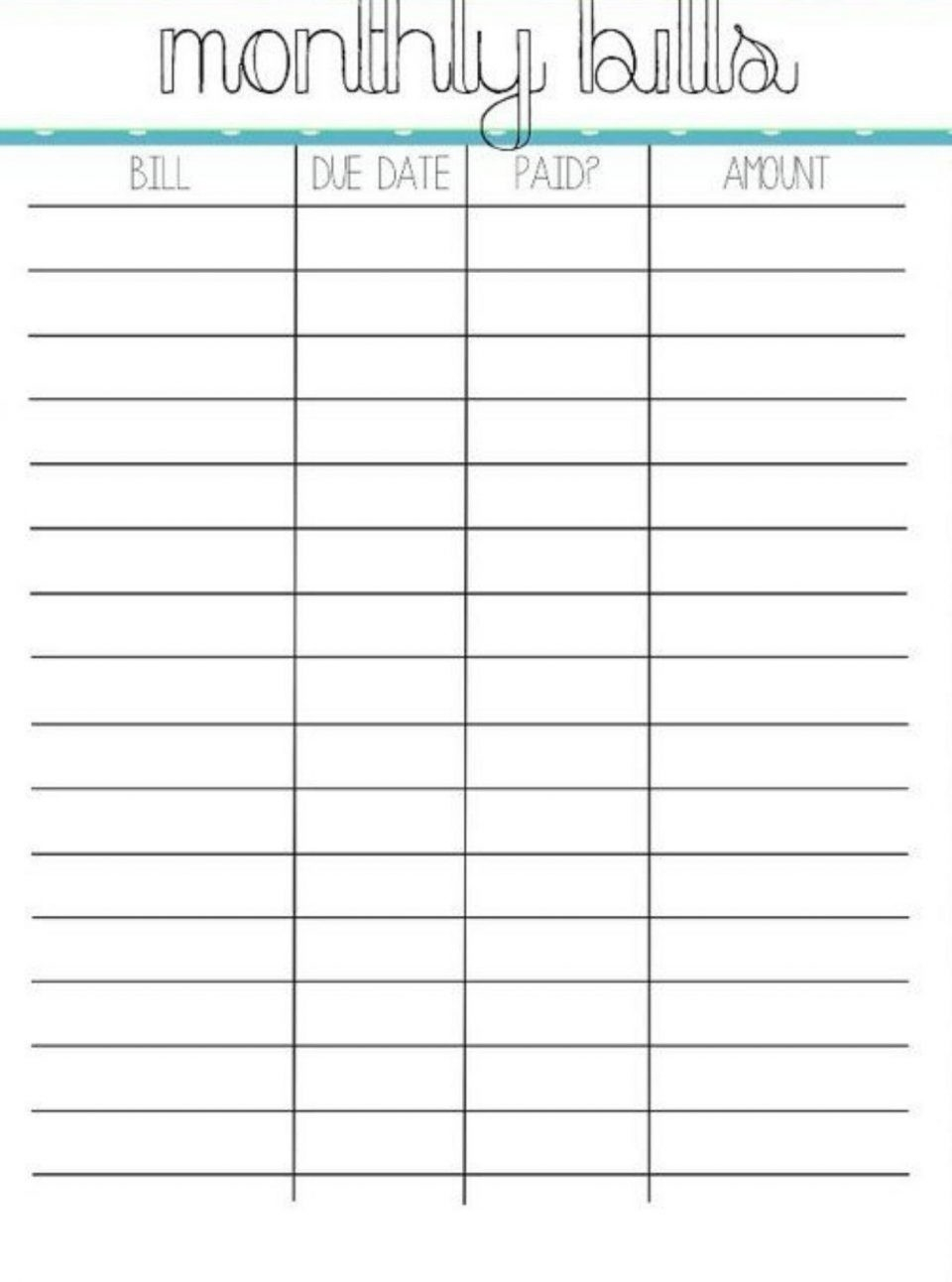 Monthly Bill Sample With Free Printable Organizer Template-Printable Monthly Billing Chart