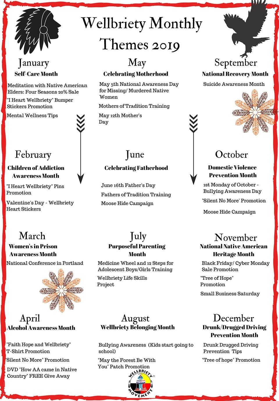 Monthly Themes 2019 Calendar-August Monthly Awareness Calendar
