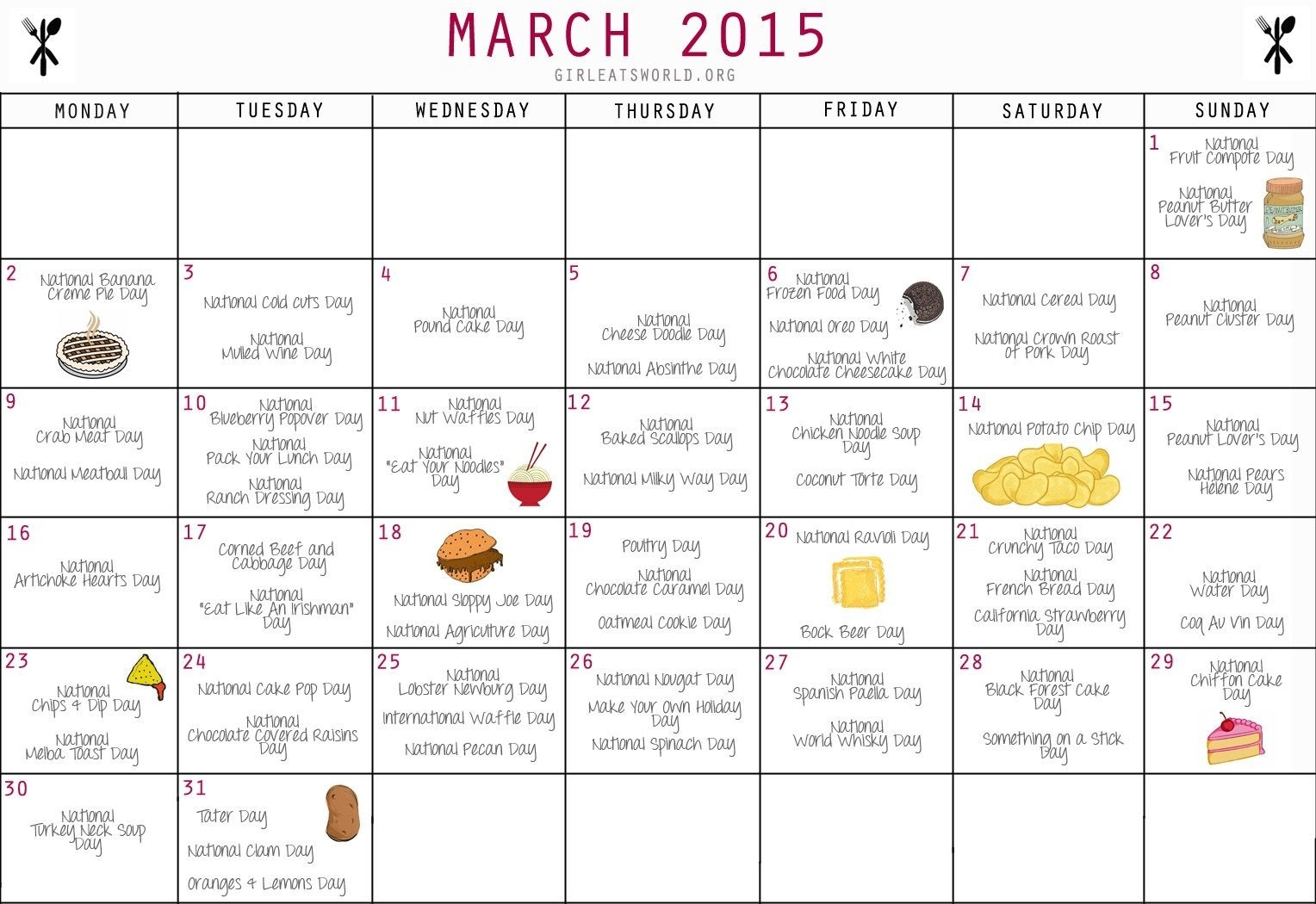 National Food Day Calendar Printable Printable Calendar 2018-Fun National Food Holidays 2020 Calendar