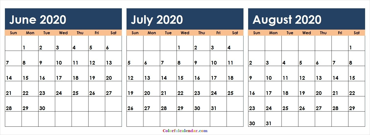 New June July August 2020 Calendar Colorful | Blank 2020-Blank Calendars June July And August 2020