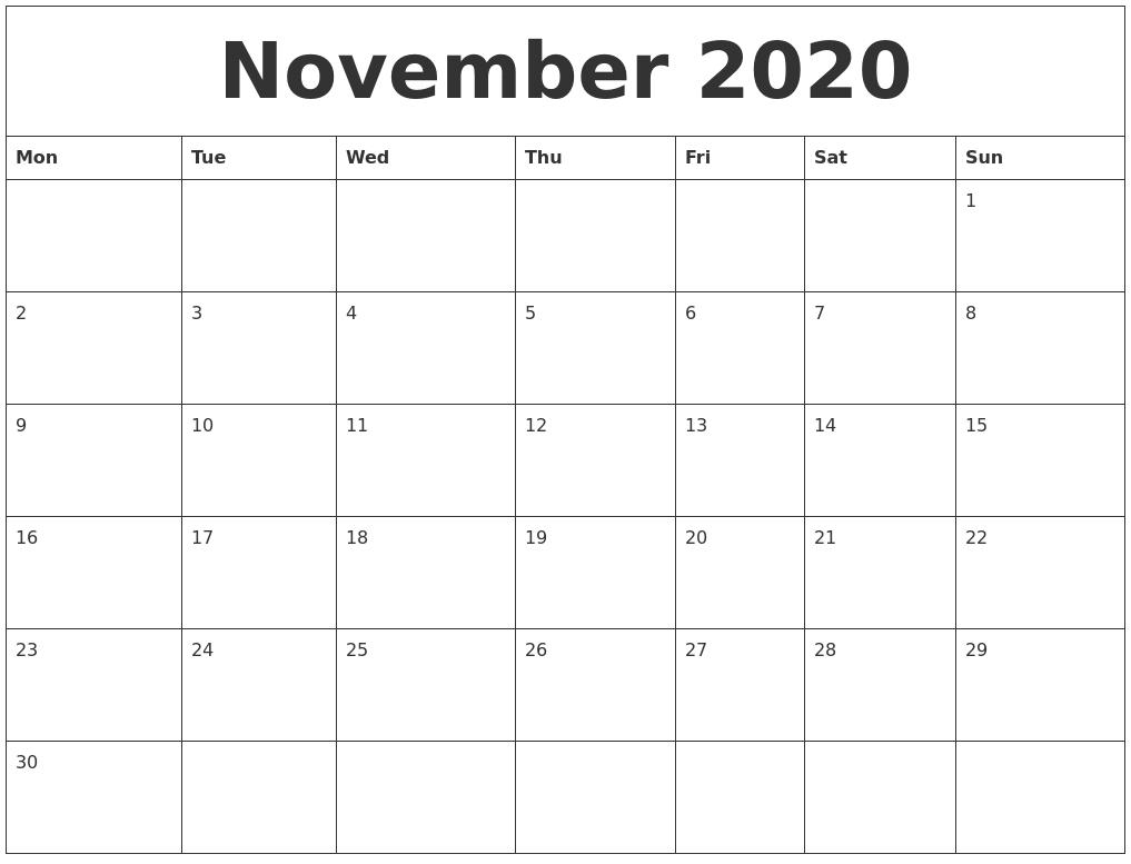 November 2020 Free Printable Calendar Templates-2020 Calendar Templates Monday - Friday
