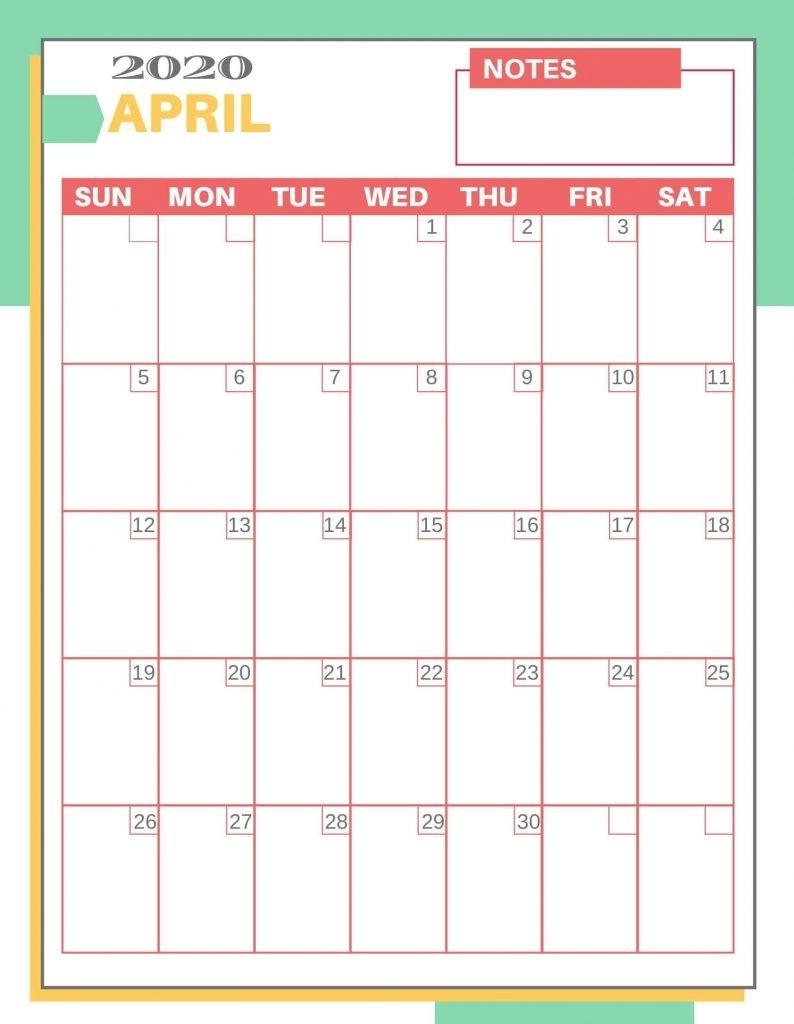 Print April 2020 Calendar Template Pdf Excel - Web Galaxy-2020 Calendar Excel Template
