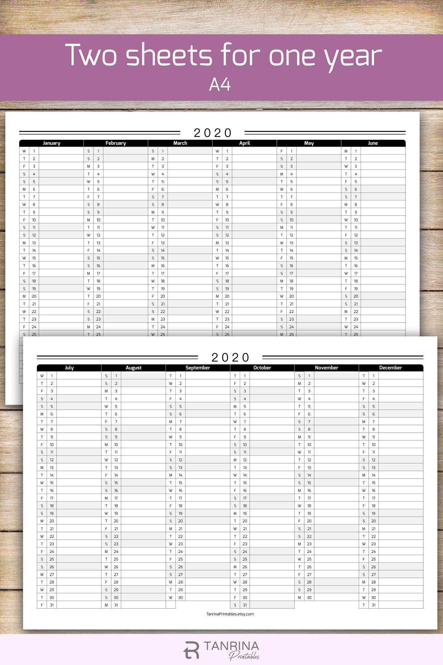 Printable 2020 Calendar Planner, Minimalist Pdf Monthly-2020 Wall Calendar Template