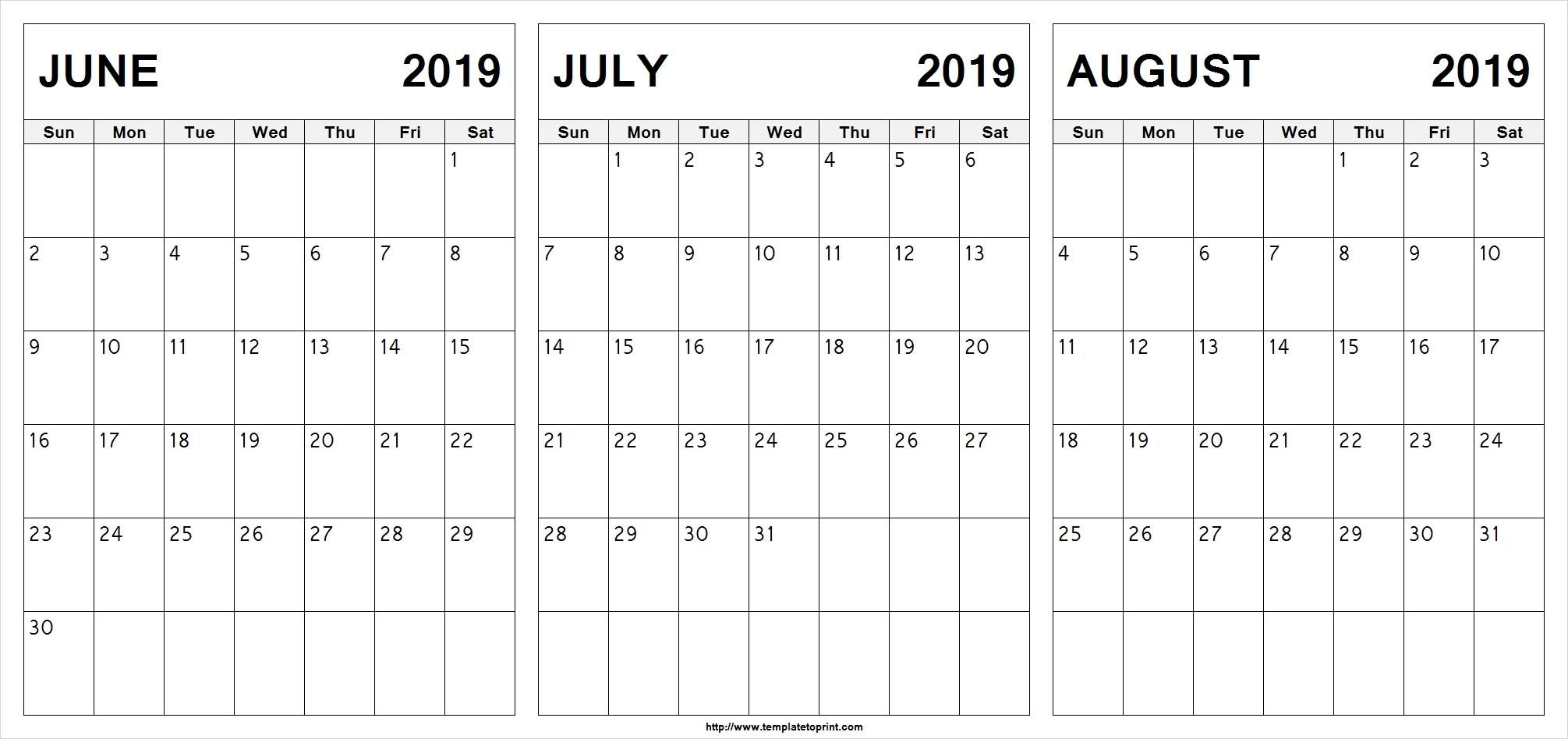 Printable Blank Calendars June July August | Calendar-Blank Chalender For Junejuly And August