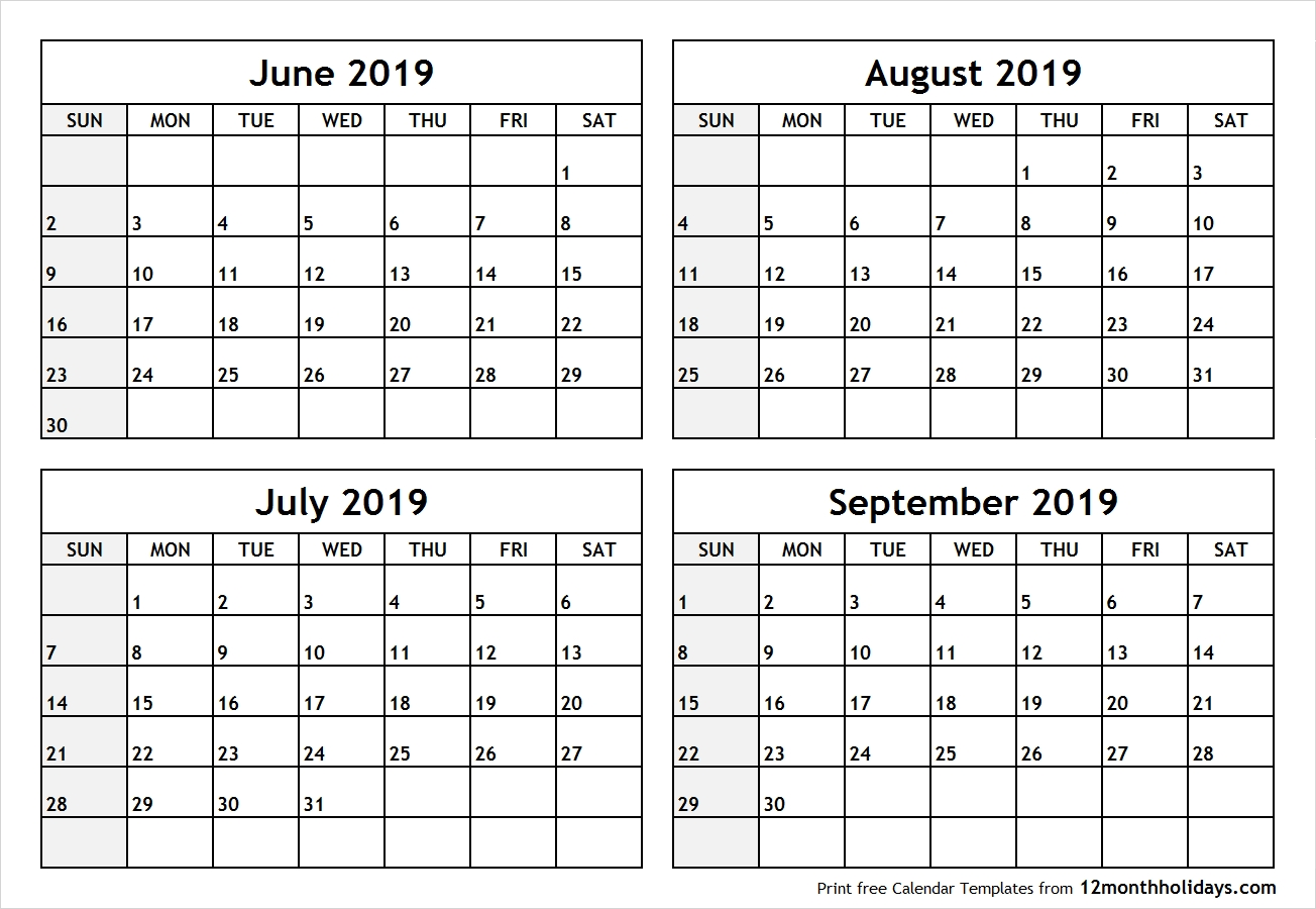 Printable Blank Four Month June July August September 2019-Blank Printable June July Augest Calendars
