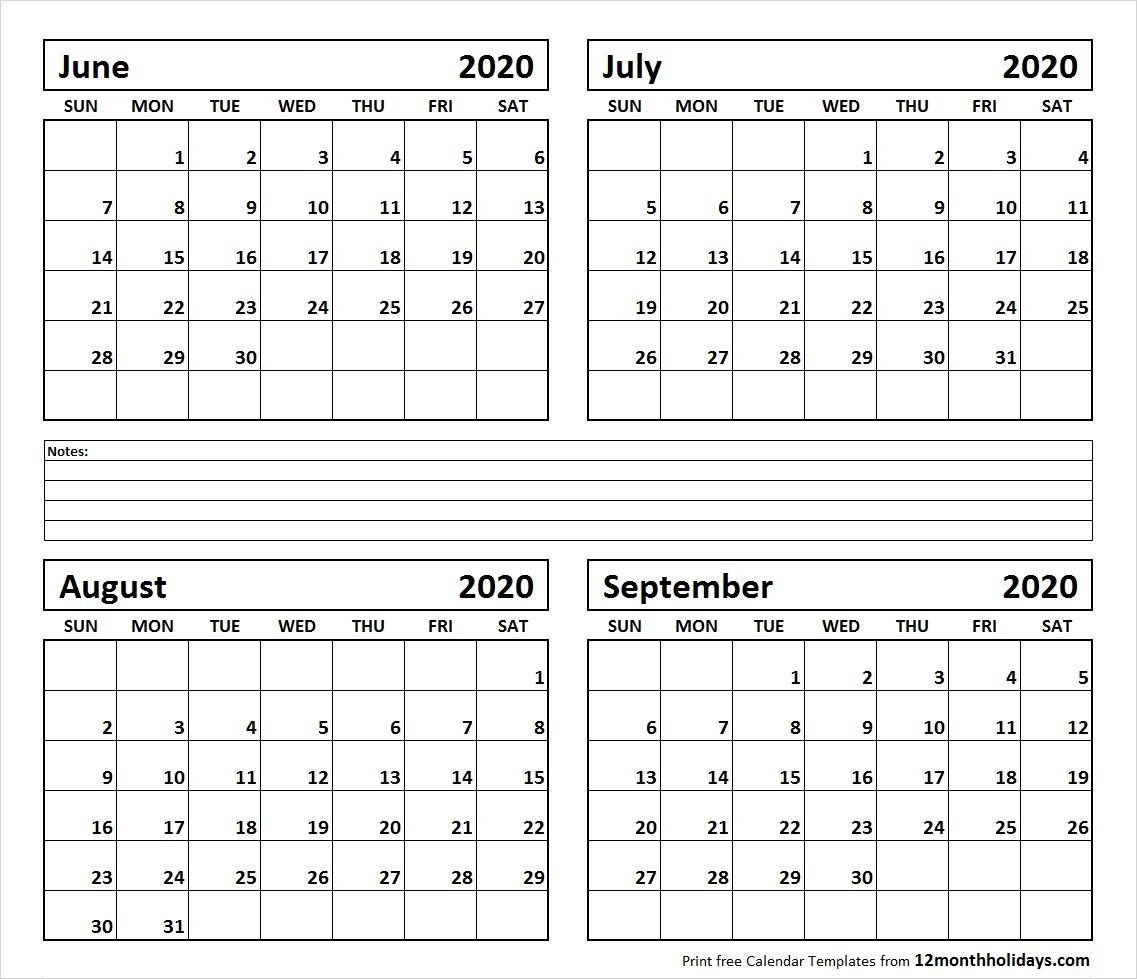Printable Blank Four Month June July August September 2020-Blank Calendar June July August 2020
