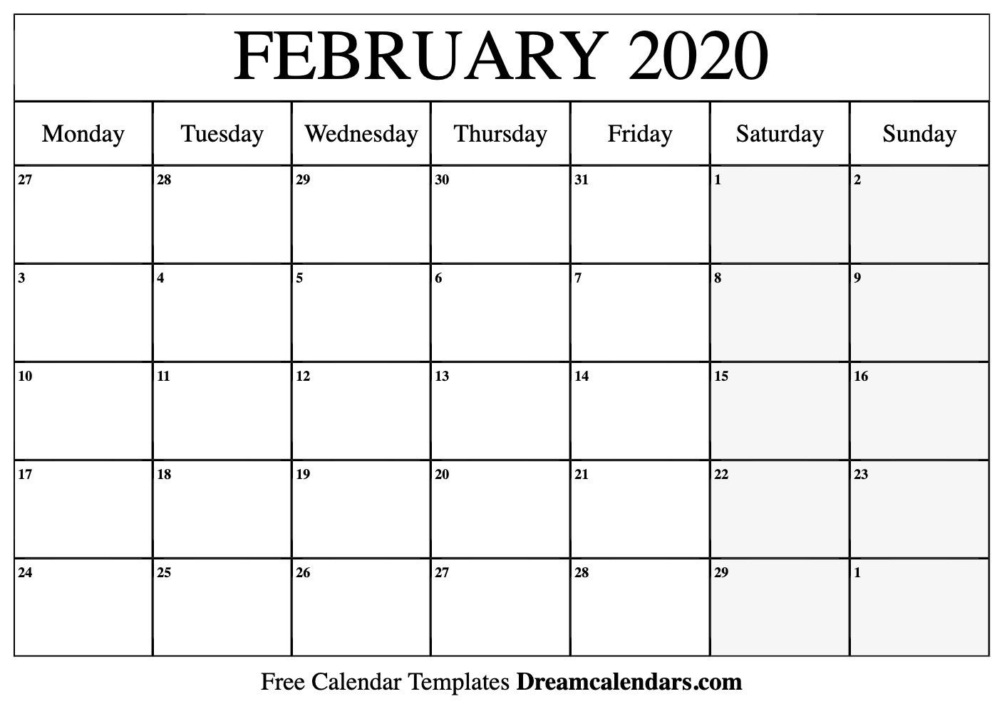 Printable February 2020 Calendar-2020 Calendar Excel Template
