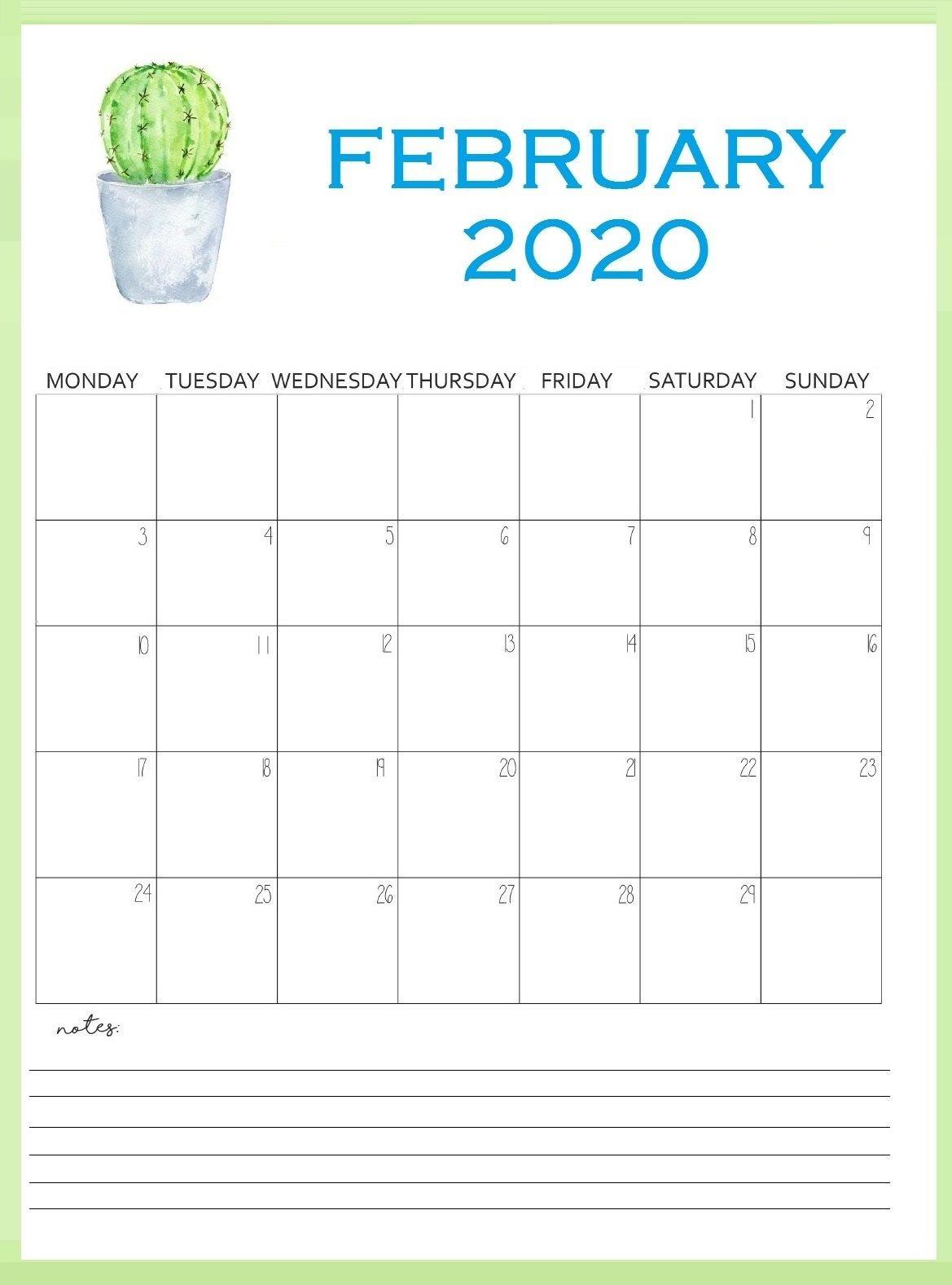 Printable February 2020 Wall Calendar In 2020 | Free-2020 Wall Calendar Template