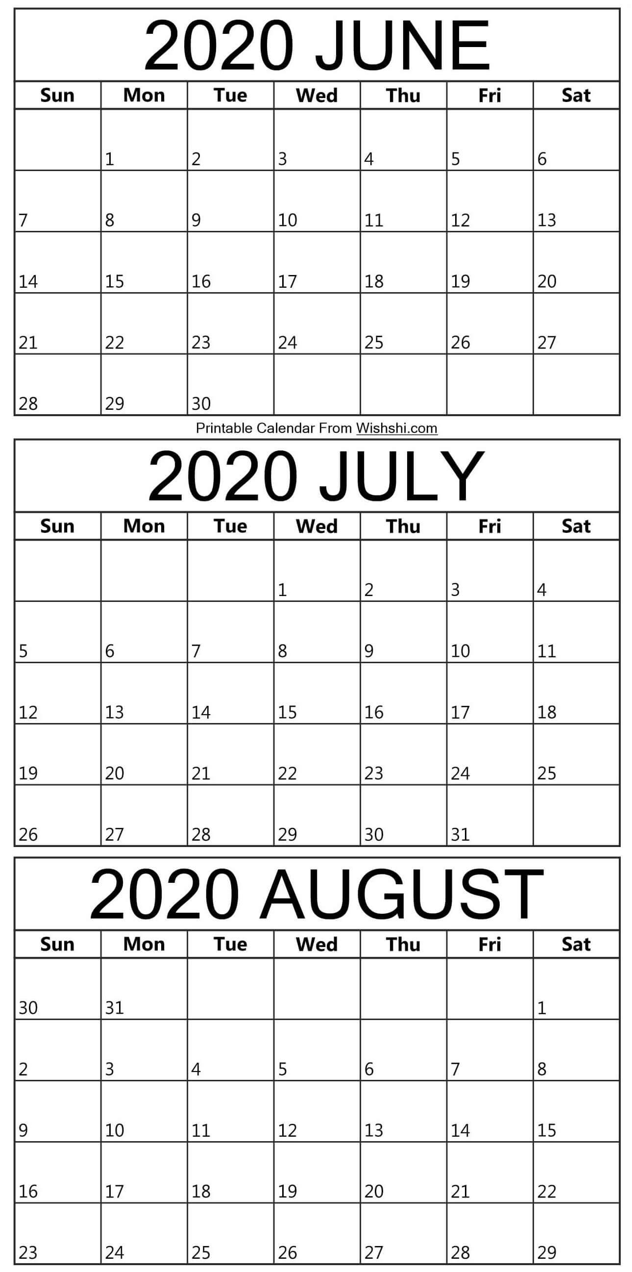 Printable June To August 2020 Calendar - Free Printable-June-August 2020 Blank Clanedars
