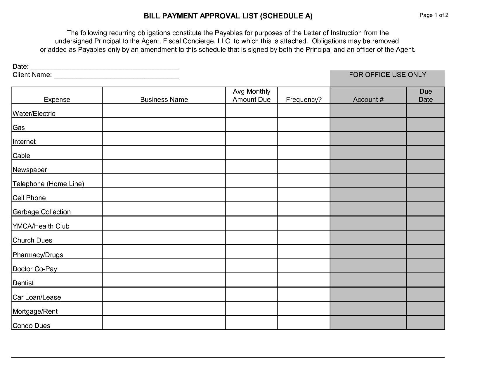 Printable Monthly Bill Chart - Vaydile.euforic.co-Free-Printable Monthly Billing Chart