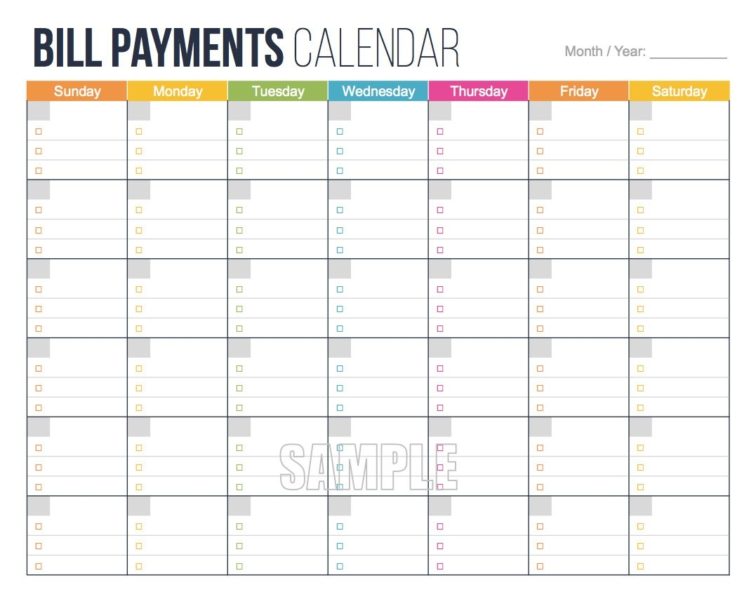 Printable Personal Bill Pay Calendar Template : Vientazona-Bill Paying Calendar Template