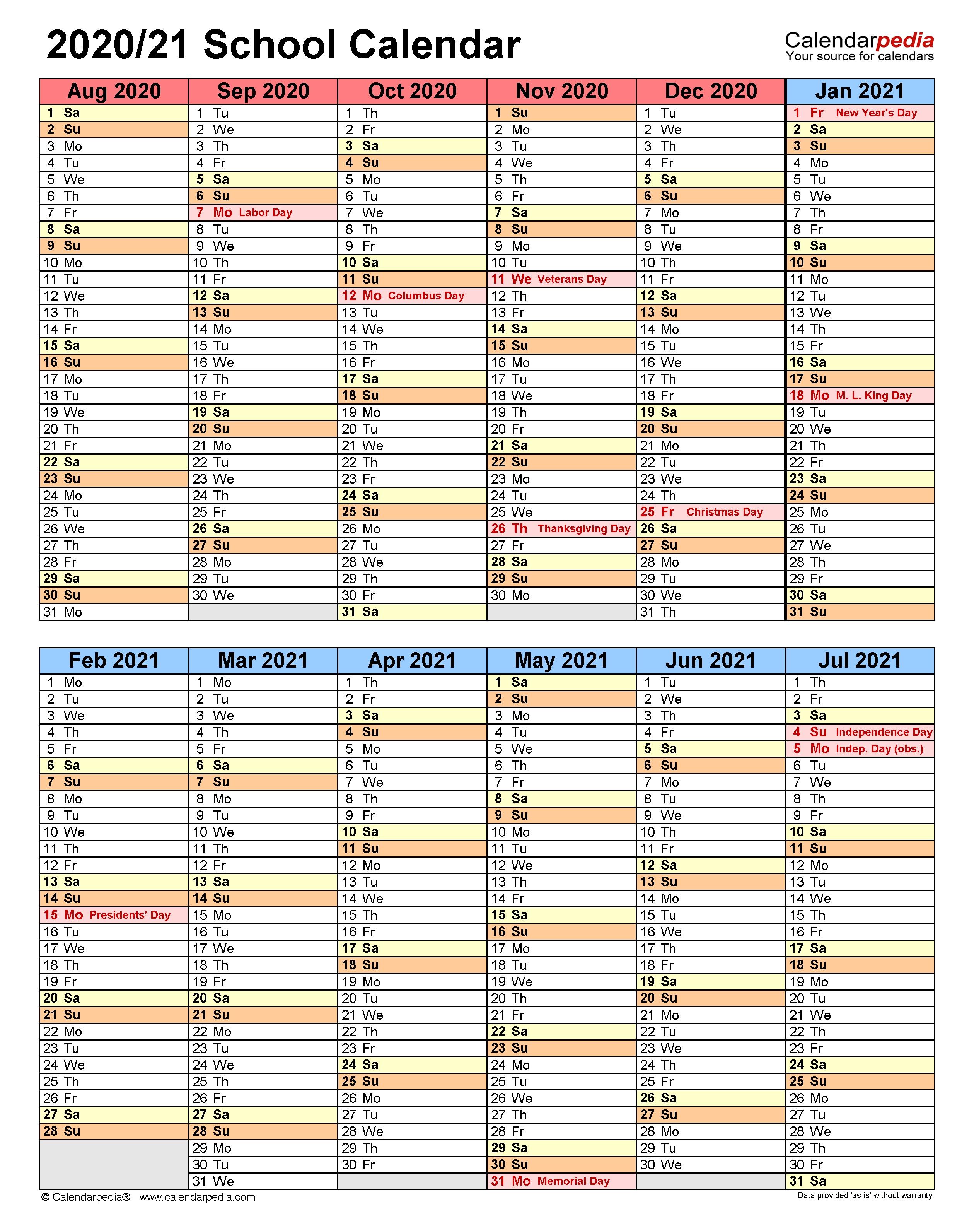 School Calendars 2020/2021 - Free Printable Word Templates-School Year Calendar 2020-20 Template