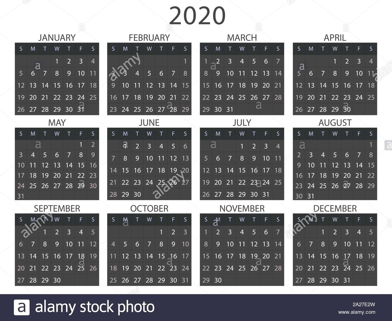 Simple Calendar Layout For 2020. Week Starts From Sunday-Blankcalendar Week Of 7/22