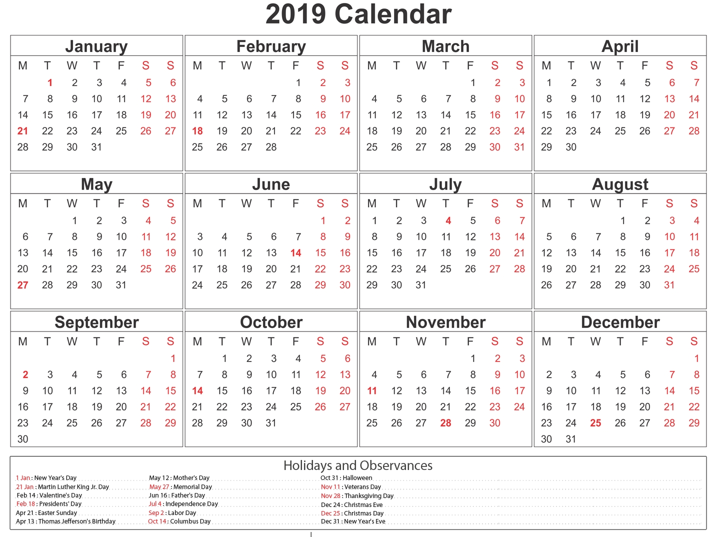 South Africa 2019 Printable Calendar With Holidays-Printable Calendar 2020 Including Bank Holidays