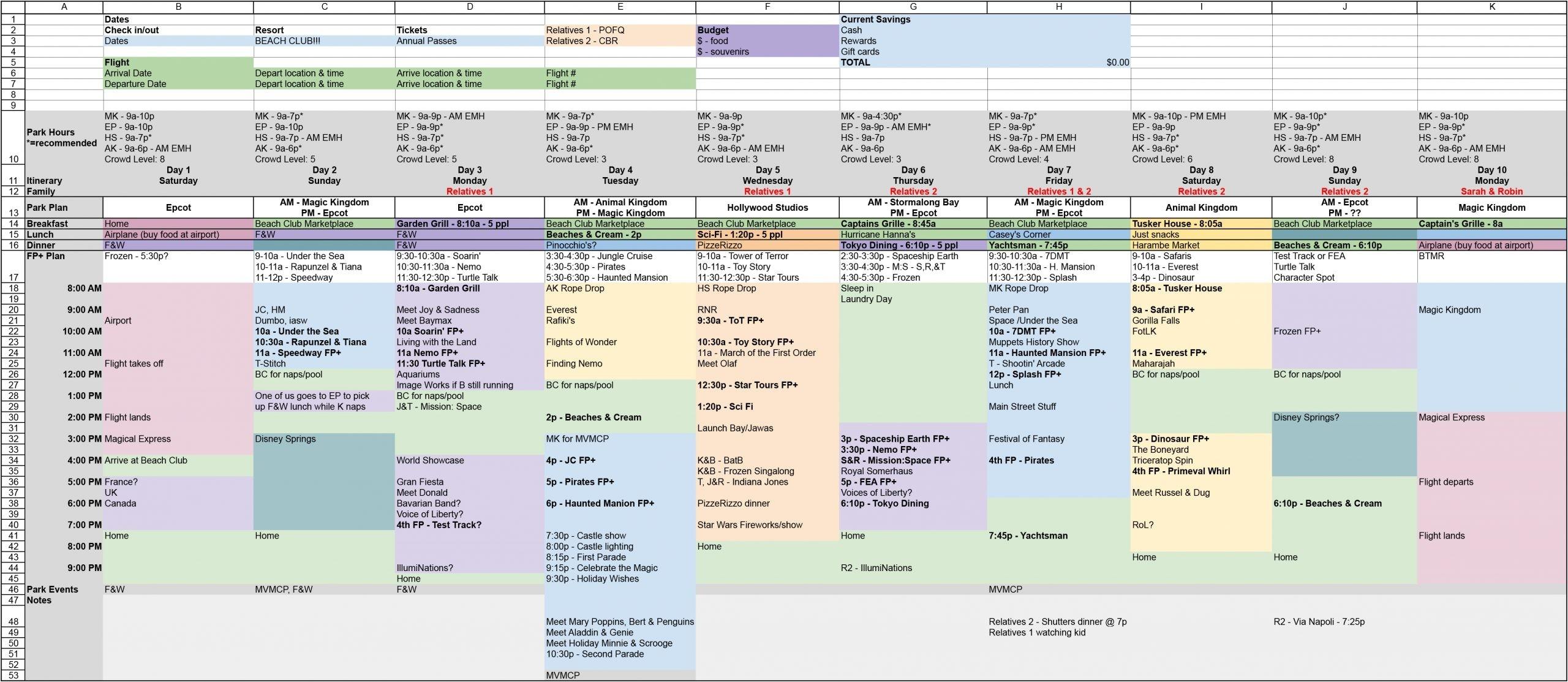Spreadsheet Walt Disney World Vacation Planner Template-Disney World Blank Itinerary Template