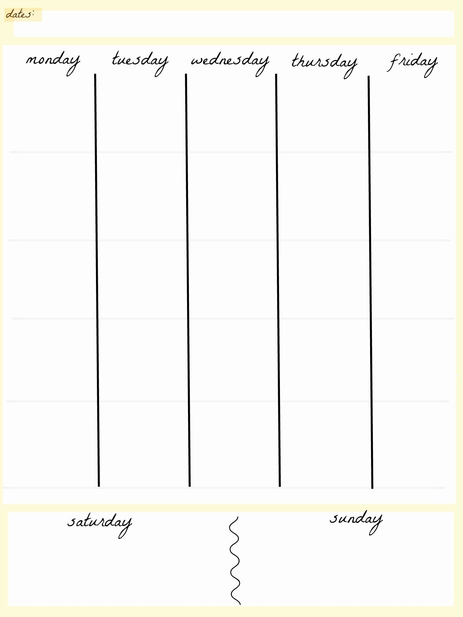Take Blank 5 Day Calendar Printable (With Images) | Weekly-5 Day Week Calender Template