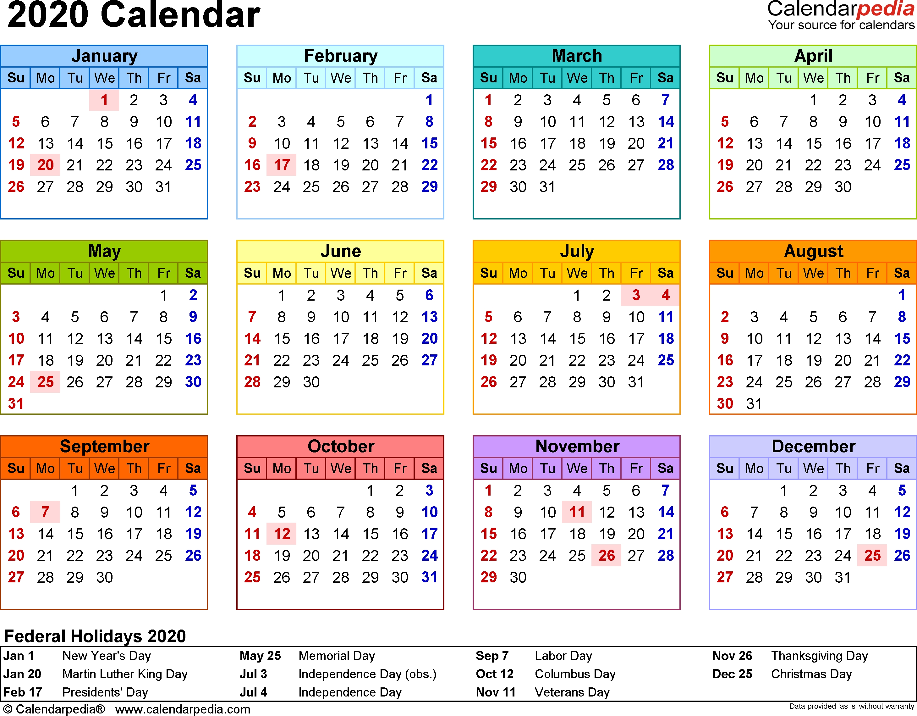 Template 8: 2020 Calendar For Word, Year At A Glance, 1 Page-2020 Calendar Template Ms Word