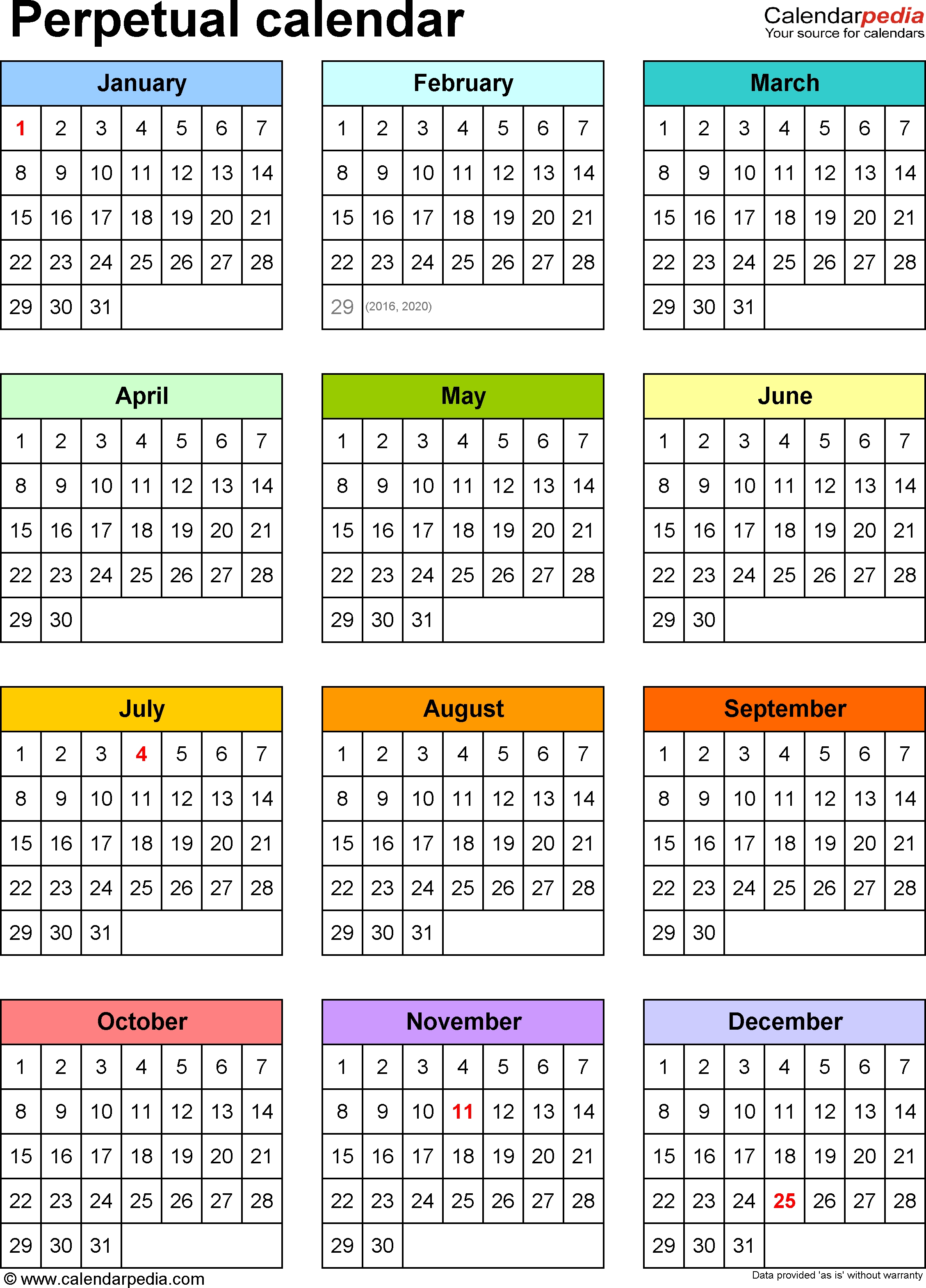 Template 9: Pdf Template For Perpetual Calendar (Portrait-Legal Size Calendar Template