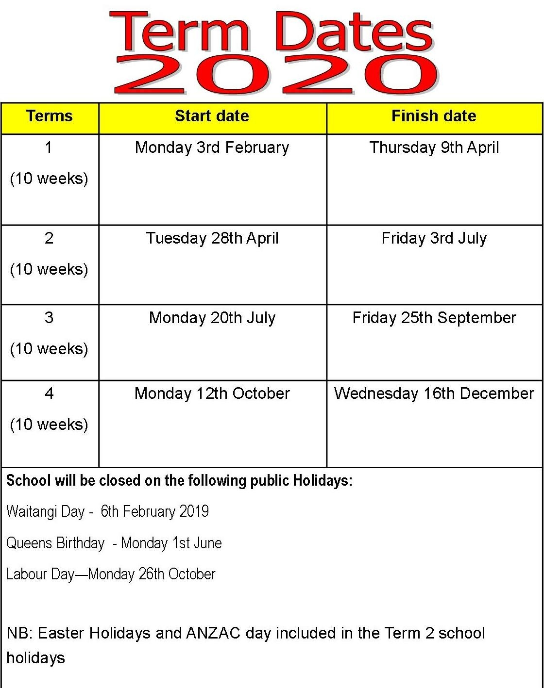 Term Dates - Ohaupo School-Nz School Holidays 2020