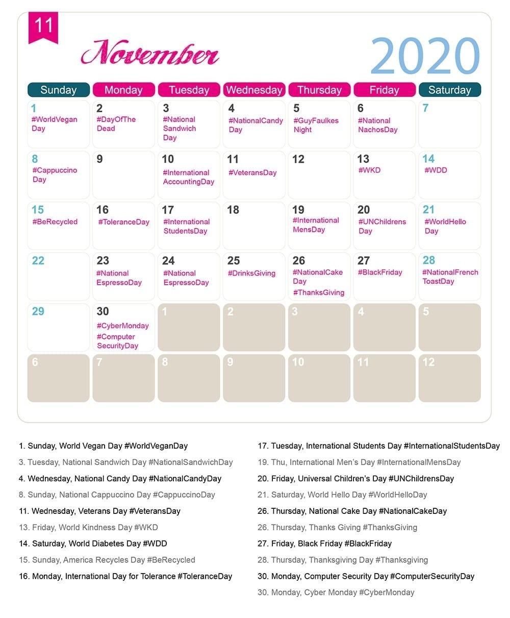 The 2020 Social Media Holiday Calendar - Make A Website Hub-Calendar Of National Food Holidays 2020