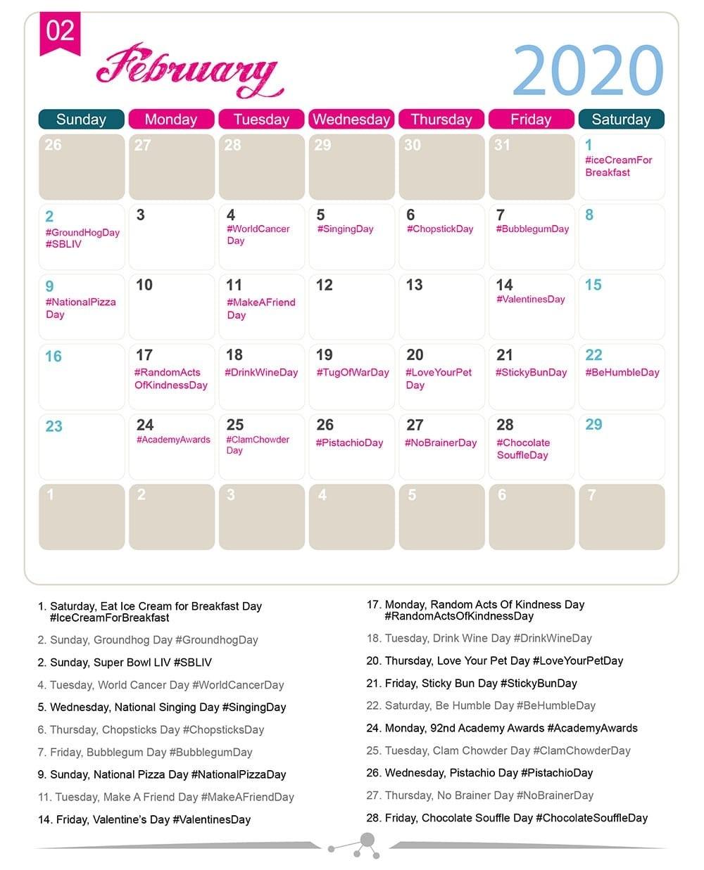 The 2020 Social Media Holiday Calendar - Make A Website Hub-Fun National Food Holidays 2020 Calendar