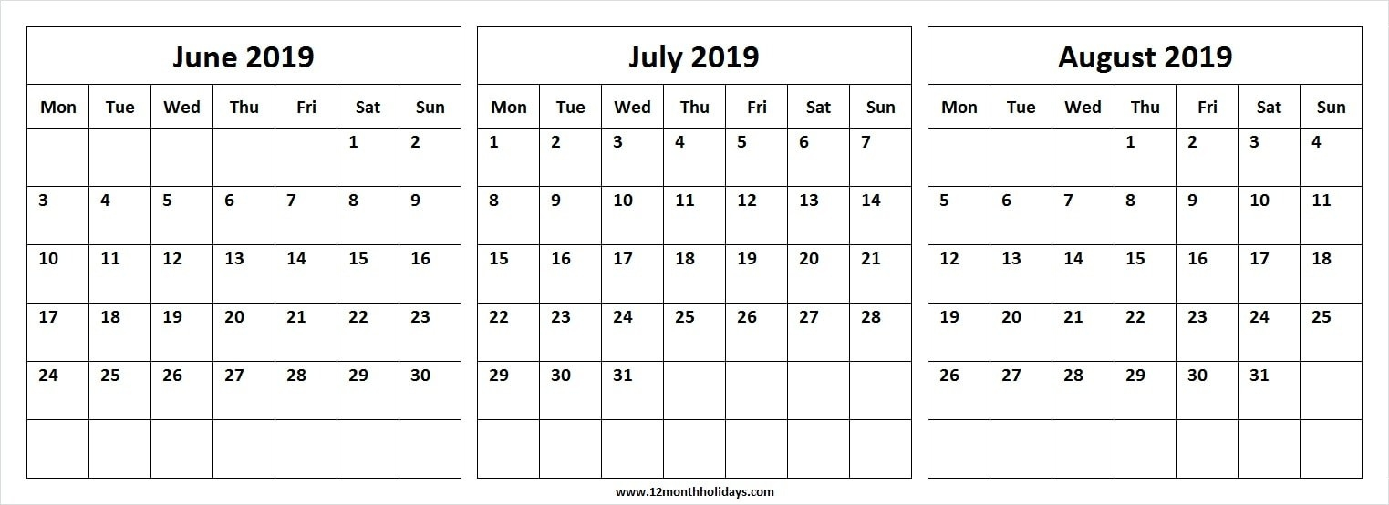 Three Month Calendar June July August 2019 | Editable-Blank Chalender For Junejuly And August