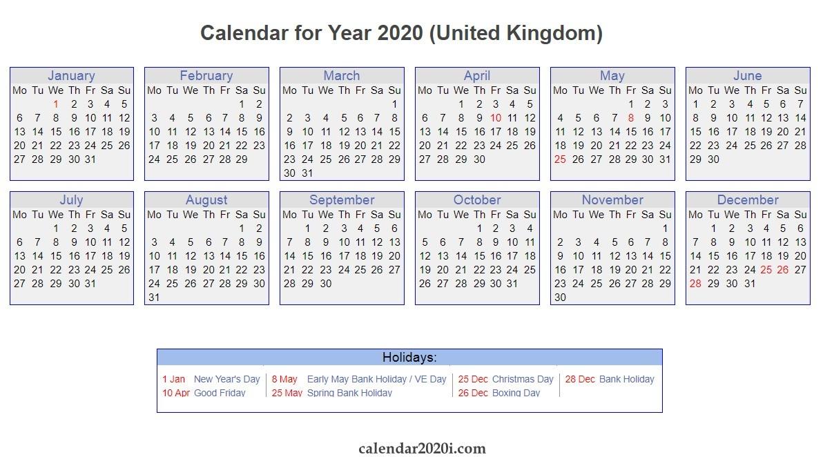 Uk 2020 Calendar Printable, Wallpapers, Holidays, Pdf, Excel-Printable Calendar 2020 Including Bank Holidays