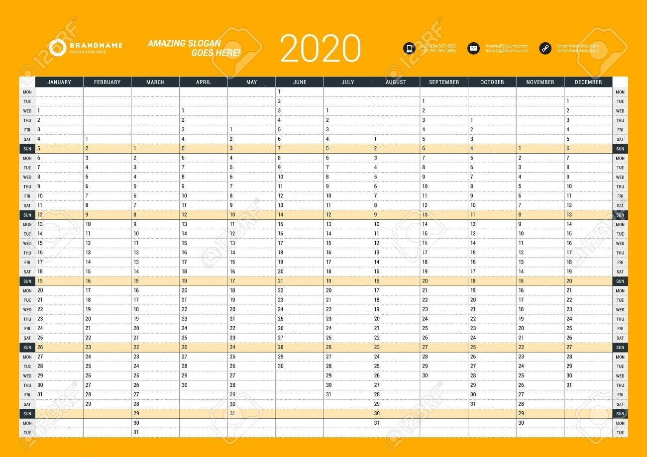 Wall Calendar Yearly Planner Template For 2020. Vector Design..-2020 Wall Calendar Template