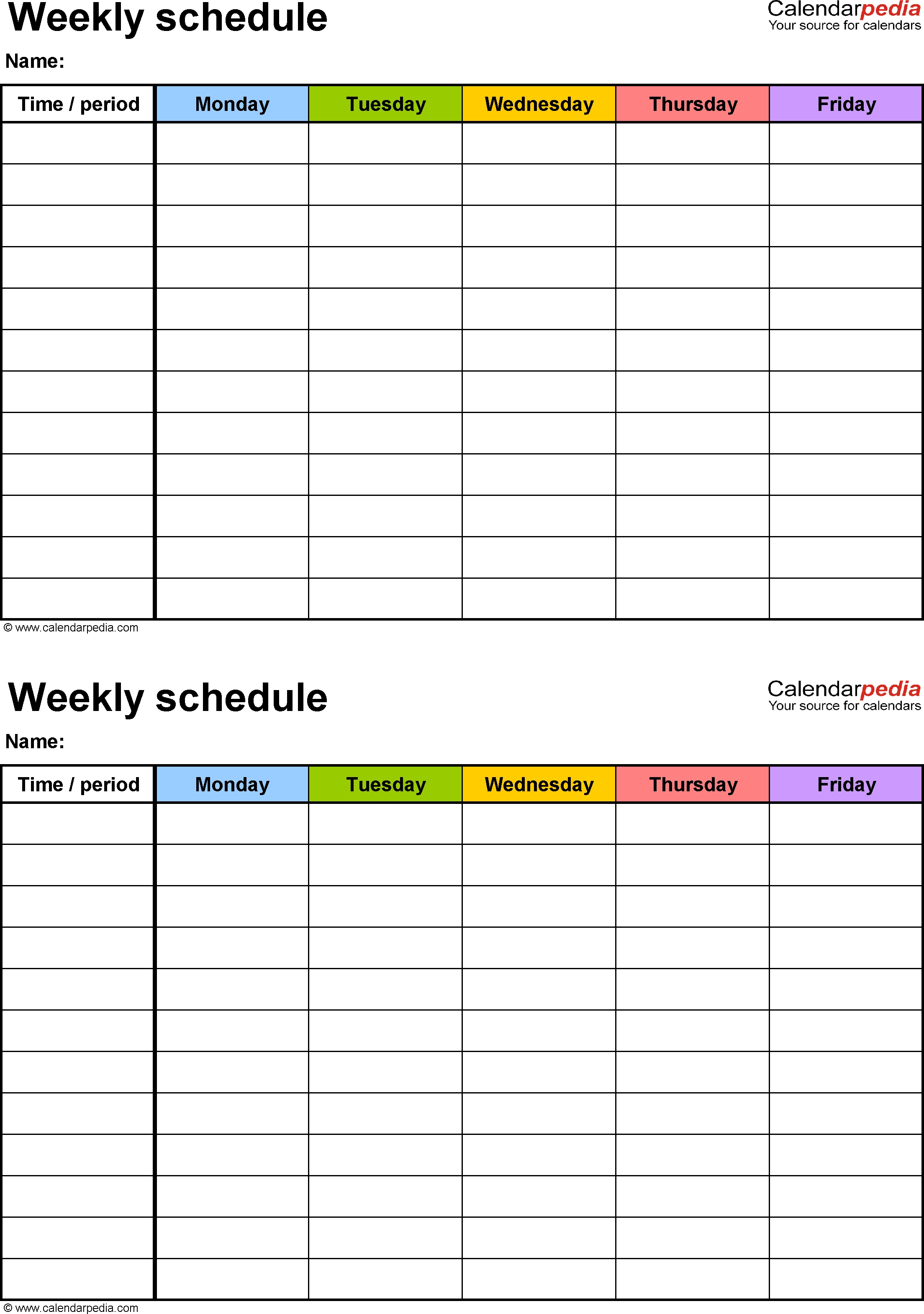Weekly Schedule Template For Pdf Version 3: 2 Schedules On-Monday To Friday Timetable Template