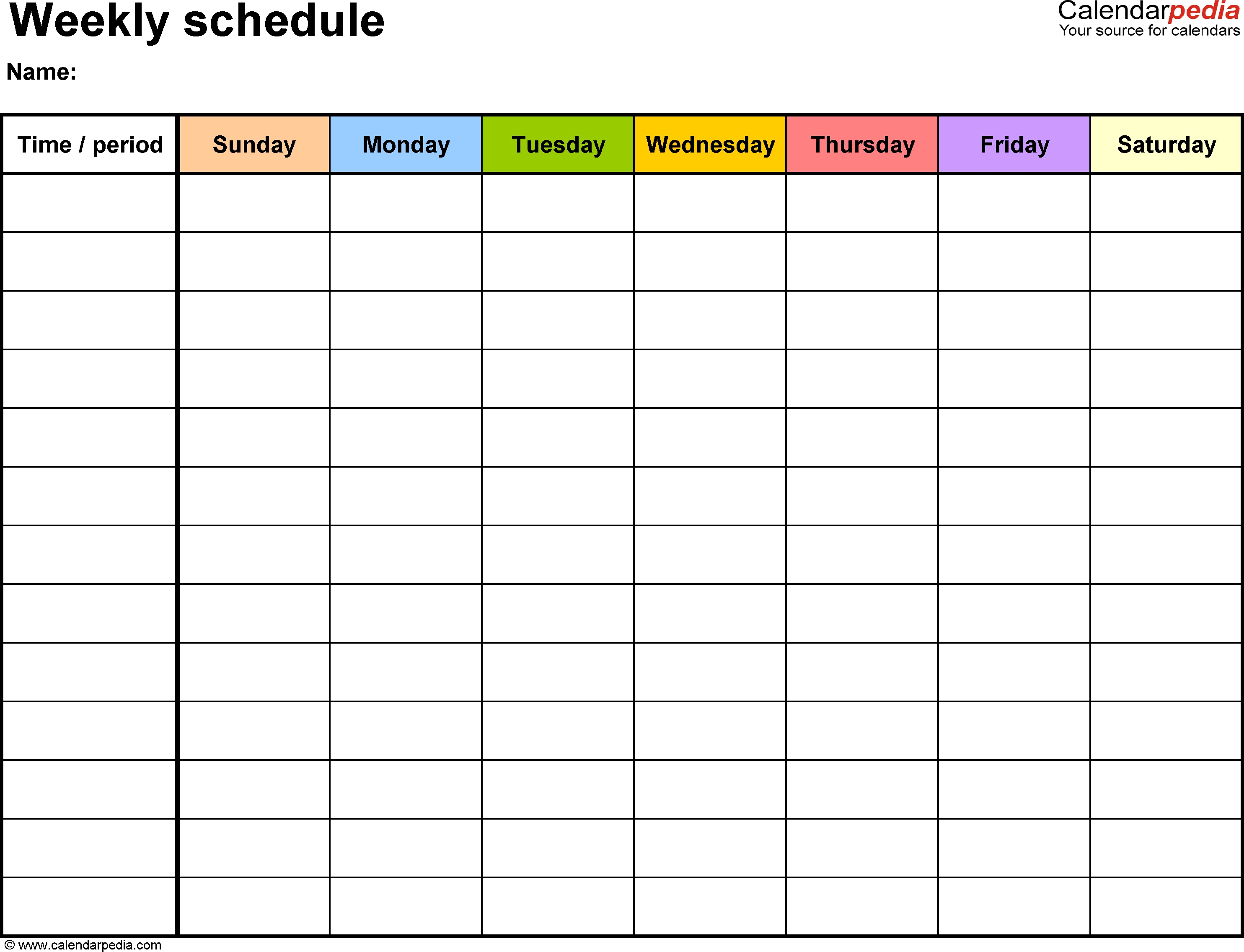 Weekly Schedule Template For Word Version 13: Landscape, 1-Blank 7 Day Calendar Template