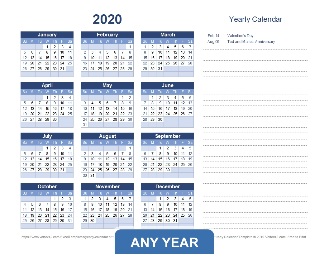 Yearly Calendar Template For 2020 And Beyond-Calendar Template By Vertex42.com