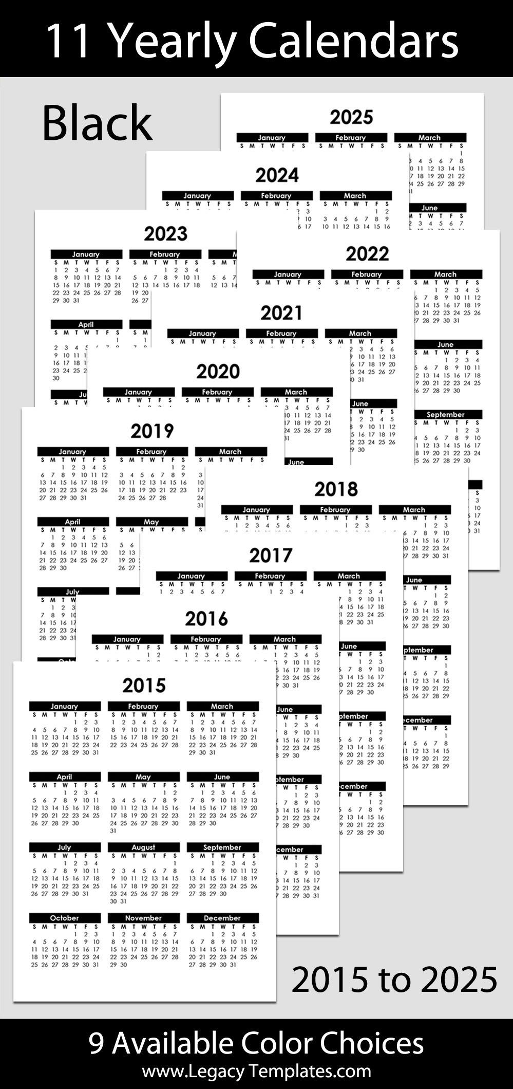 "2015 To 2025 Yearly Calendar - 8 1/2"" X 11"" | Legacy Templates-8.5 X 11 Calendar Print"