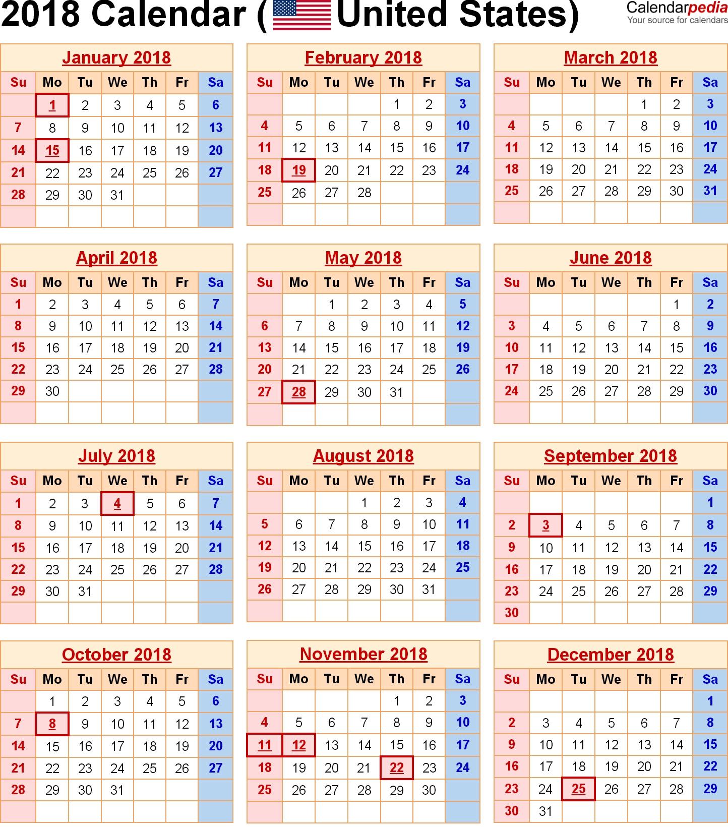 2018 Calendar United States Holidays | Holiday Calendar Printable-Blank I 9 Form 2021