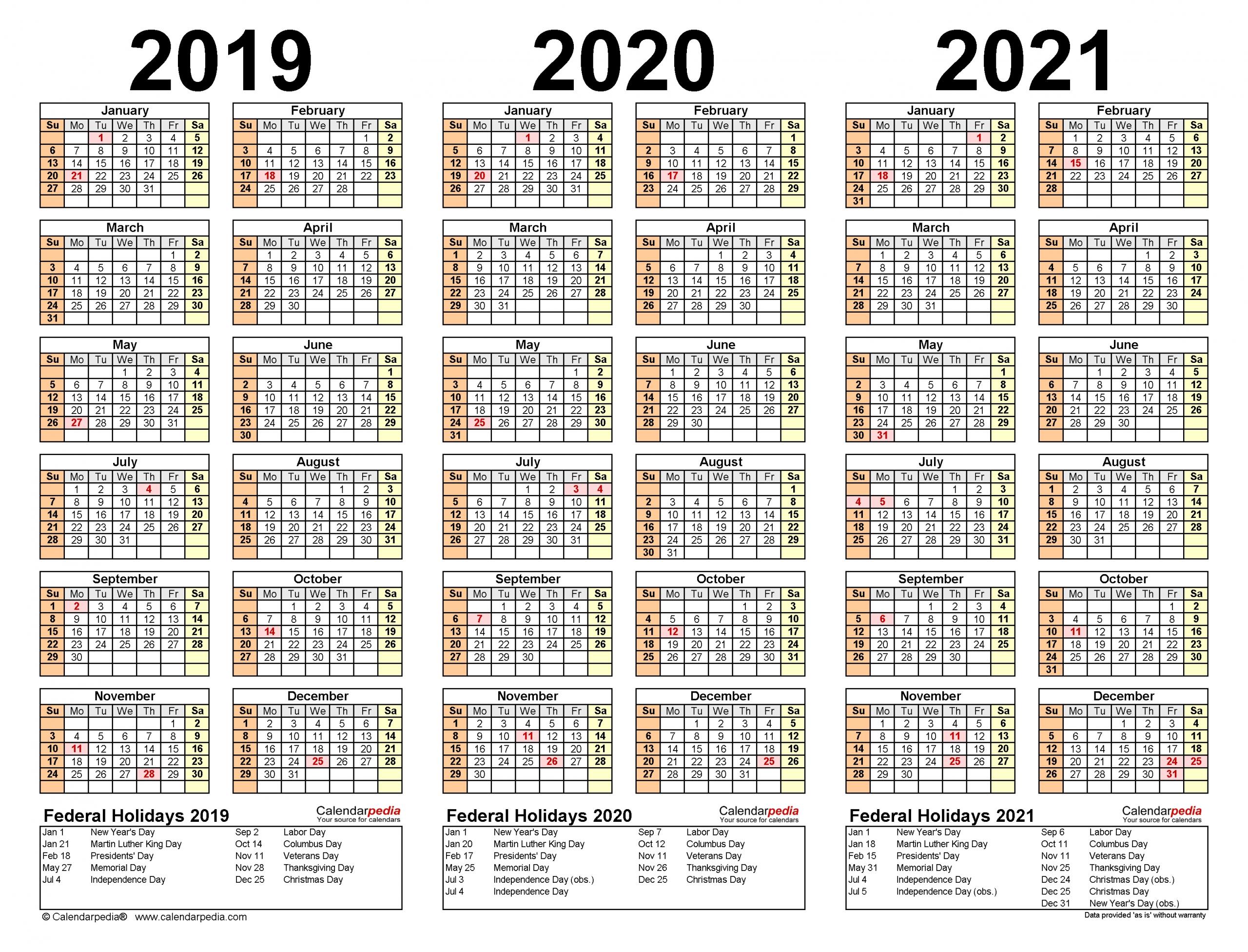 2019-2021 Three Year Calendar - Free Printable Excel Templates-3 Year Calendar 2021
