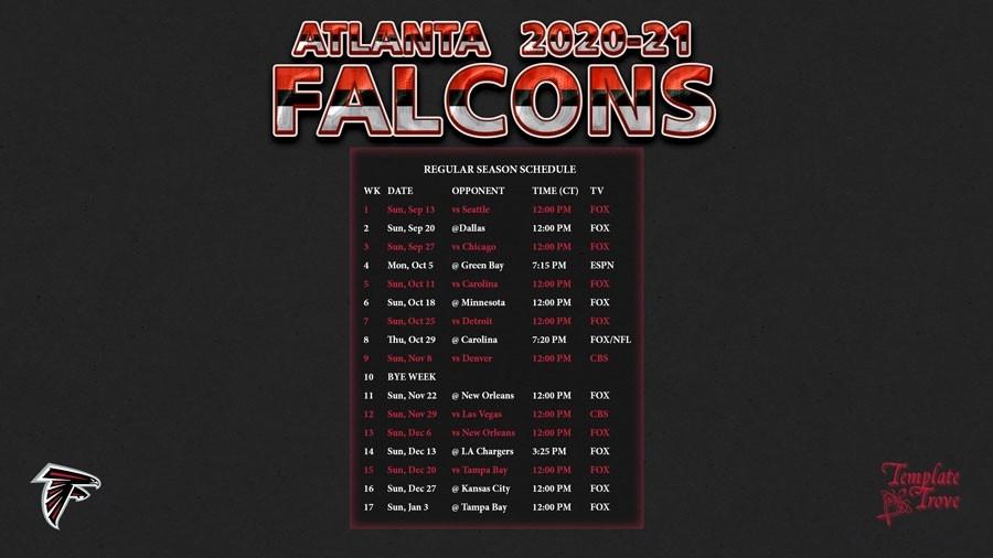 2020-2021 Atlanta Falcons Wallpaper Schedule-Printable Nfl Schedule 2021 Season