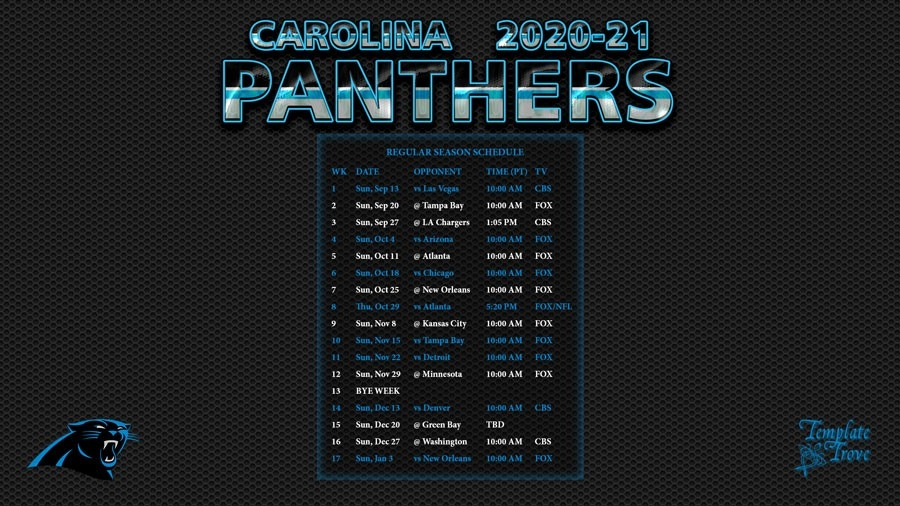 2020-2021 Carolina Panthers Wallpaper Schedule-Printable Nfl Schedule For 2021 2021