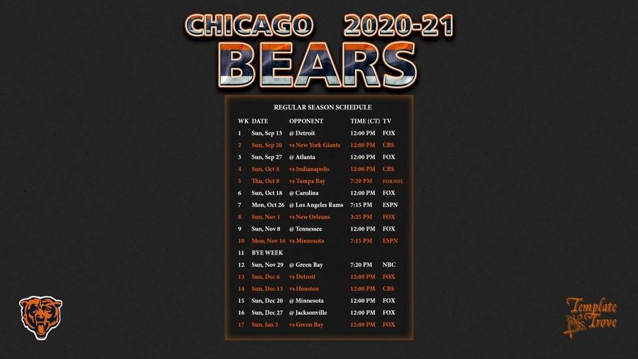 2020-2021 Chicago Bears Wallpaper Schedule-Printable Nfl Schedule For 2021 2021