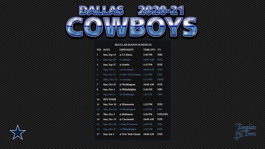 2020-2021 Dallas Cowboys Wallpaper Schedule-Printable Nfl Schedule For 2021 2021