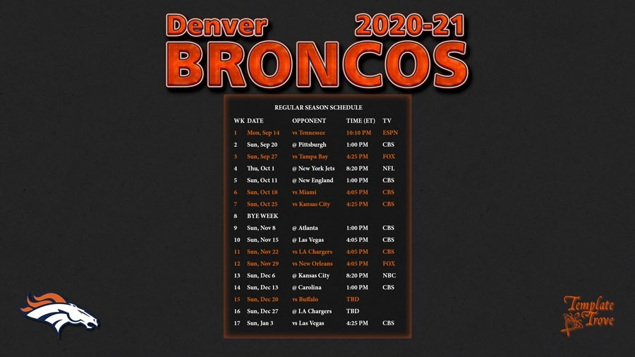 2020-2021 Denver Broncos Wallpaper Schedule-Free Printable Nfl Schedule 2021