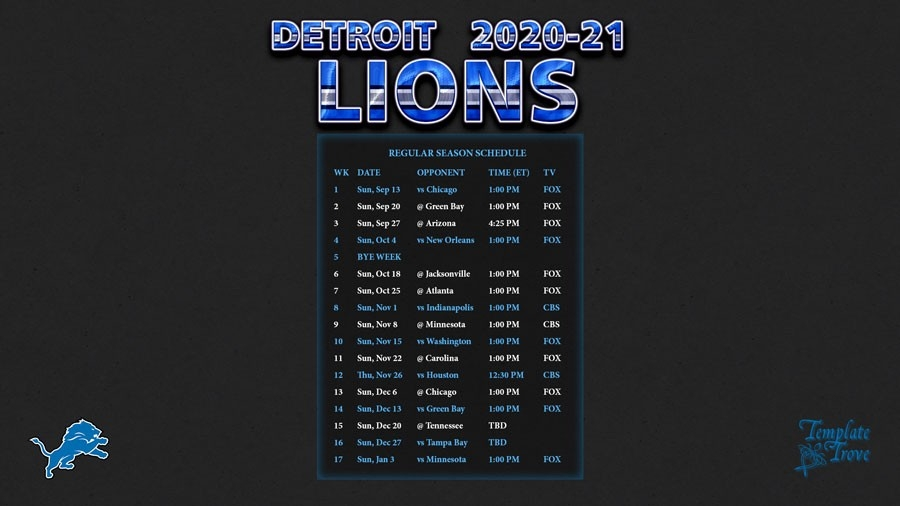 2020-2021 Detroit Lions Wallpaper Schedule-Free Printable Nfl Schedule 2021