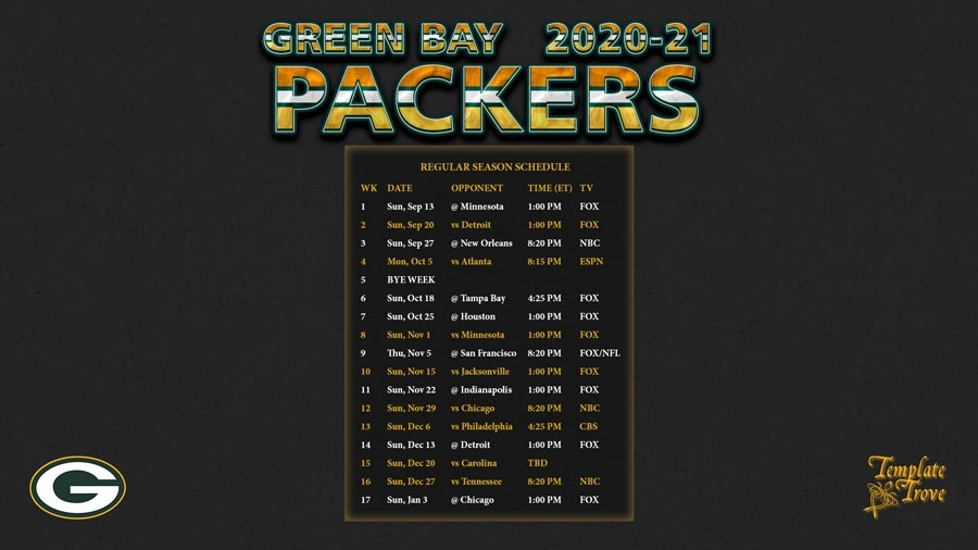 2020-2021 Green Bay Packers Wallpaper Schedule-Printable Nfl Schedule For 2021 2021