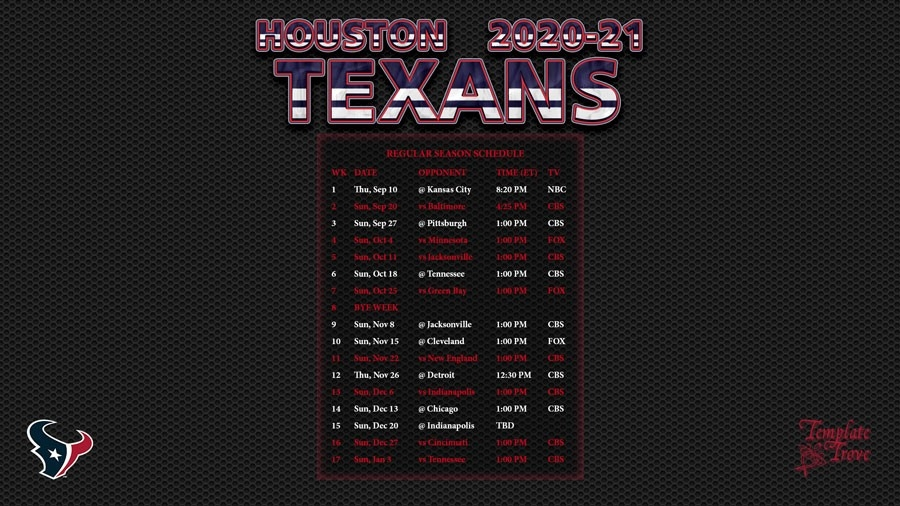 2020-2021 Houston Texans Wallpaper Schedule-Printable Nfl Schedule 2021 Season