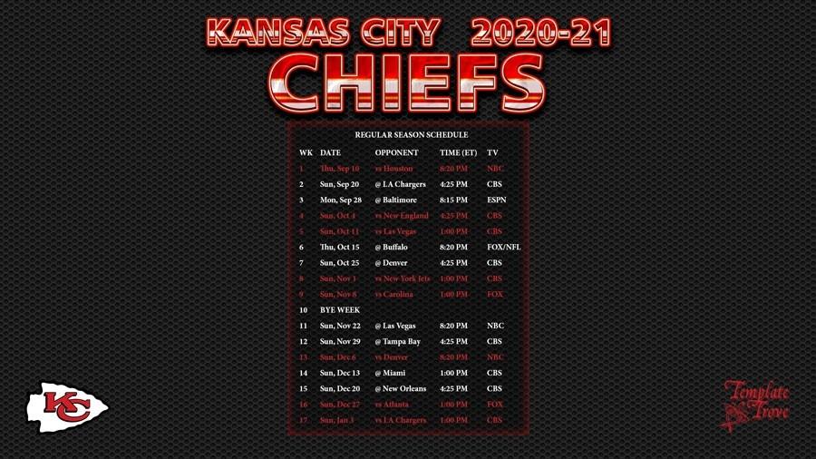 2020-2021 Kansas City Chiefs Wallpaper Schedule-2021 Nfl Football Schedule Printable