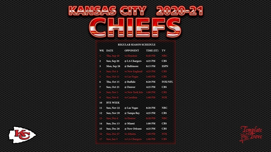 2020-2021 Kansas City Chiefs Wallpaper Schedule-Printable Nfl Schedule 2021 Season