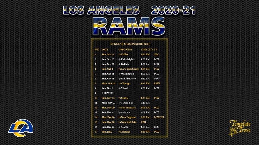 2020-2021 Los Angeles Rams Wallpaper Schedule-Free Printable Nfl Schedule 2021